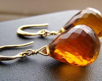 Madeira Citrine Gold Earrings - Luxury Large AAAA Stones