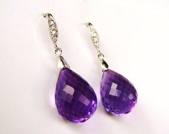 Luxury Amethyst Stone Silver Pave Earrings.February Birthstone.  Statement Jewelry