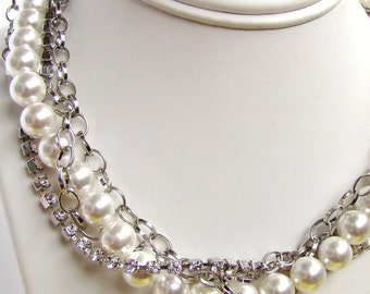 Bridal White Pearl Rhinestone Chains Necklace