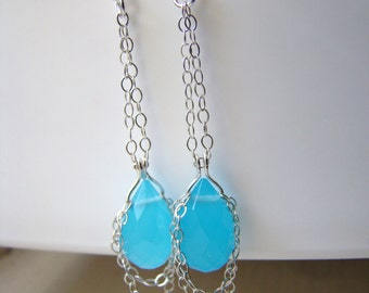 Blue Chalcedony Wire Wrapped Sterling Silver Chain Earrings