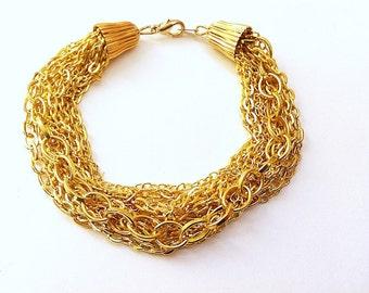 Trendy Multistrand Gold Chain Bracelet