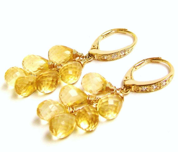 Citrine Stone Cascade Earrings in gold pave
