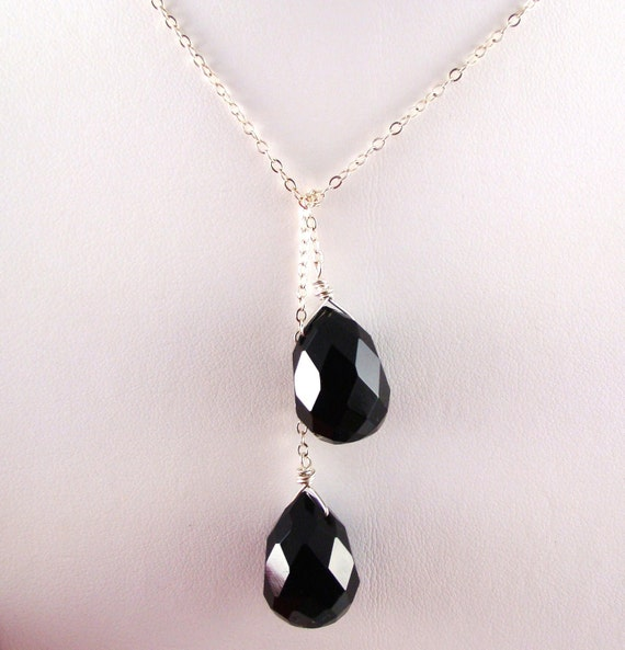 Black Onyx Lariat Necklace - 38 inches - sterling silver