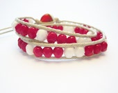 White red bracelet, two wrap bracelet chan luu style, waxed cotton and czech beads