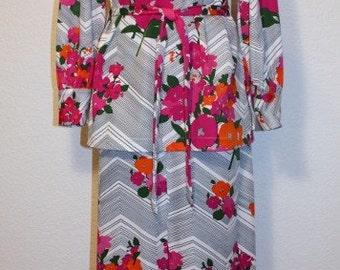 1970's Maxi Skirt Top SEt Floral Fuchsia, Pink, Orange, Green, Black & White Vintage Retro 70s Hipster FAbulous