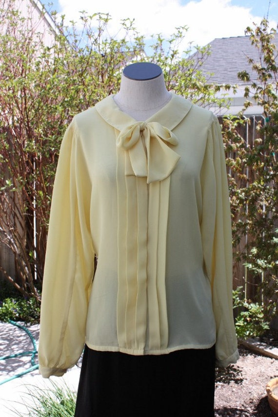Yellow Bow Tie Blouse 106