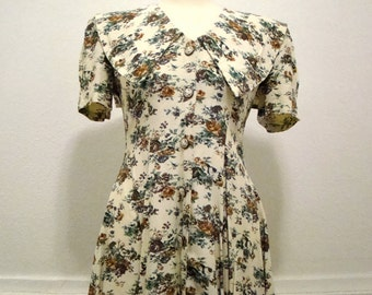 Vintage / 80s / Floral / Short Sleeve / Grunge / Mini / Day Dress / SMALL