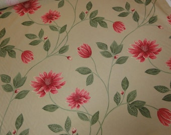 Alena Harlequin Designer Floral Upholstery Fabric - Deep Pink Color Flowers Tan Cotton Fabric- 1 Yard- Multiple Yards Available- By the Yard