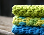 Set of Three Cotton Washcloths, Lime Green & Bright Blue