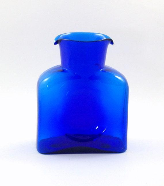 Blenko Water Bottle or Carafe in Sapphire Blue - Model 384