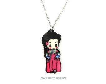 Cute Korean Hanbok Girl Necklace Charm, Korean Traditional Dress, Korean Adoptee Gift For Her, Kpop Fashion Accessory,  Historical Kdrama