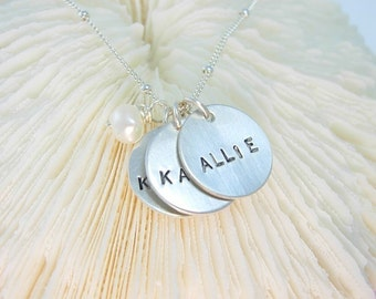 THREE LITTLE NAMES...... Sterling Silver Hand Stamped Trio Mommy Necklace