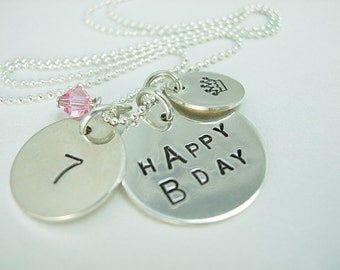 Handstamped Personalized Sterling Silver BIRTHDAY Necklace