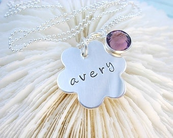 Handstamped Personalized Custom Sterling Silver FLOWER CHARM Necklace
