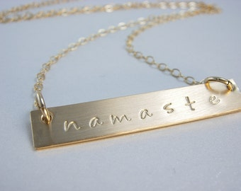 Namaste Bar Necklace - Bar Necklace - Hand Stamped Necklace