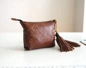 Distressed brown leather purse, with Liberty of London