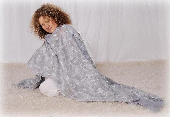 Bridal shawl- wedding shawl- gray grey shawl- felted scarf- merino wool scarf- nuno felted scarf