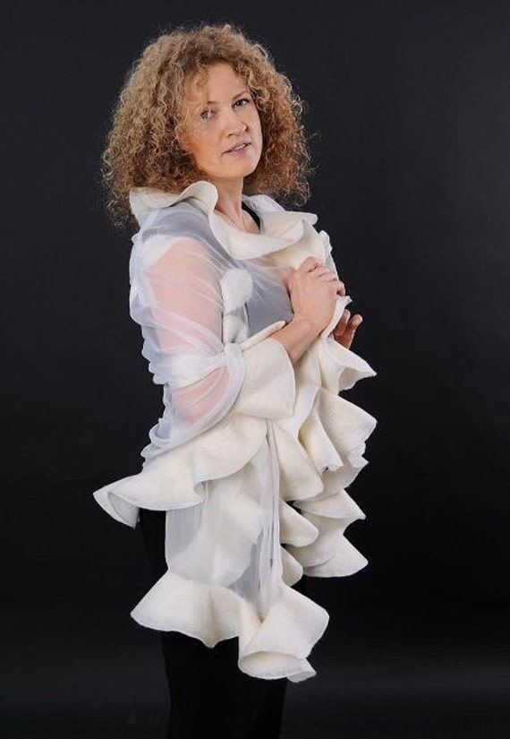 Bridal silk shawl - White felted shawl - Wedding bridal silk wrap - Chiffon silk shawl - Mother of the bride silk shawl