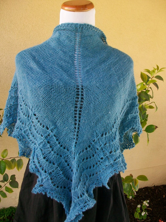 Cornflower Blue Knitted Triangular Shawl