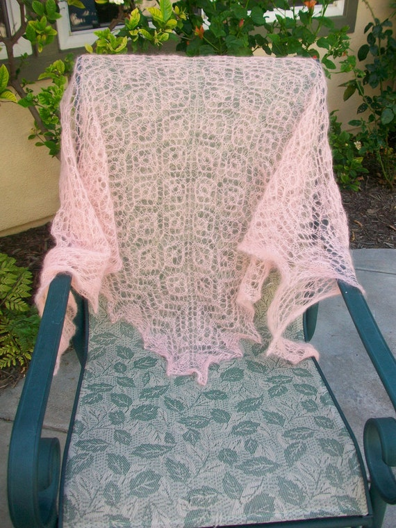 One Day Only Special Price Half Off/ Blush Pink Floral Lace Feather Light Mohair Lace Hand Knitted Shawl