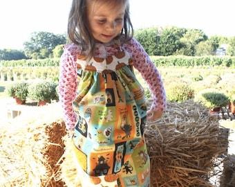 Childs Halloween Apron, Kids Apron, Girls Apron, Pumpkin, Halloween, Jack O' Lantern, Handmade 12M-4T