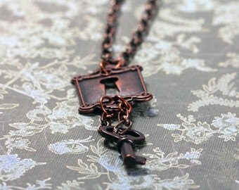 Warehouse 13 Inspired Key and Lock Necklace in Antique Copper - Key Necklace, Warehouse 13 Necklace, Claudia Donovan, Steampunk Necklace