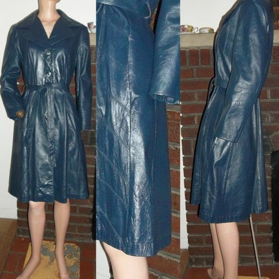 70s Leather Trench Coat Supple to the Touch Belted Spy M