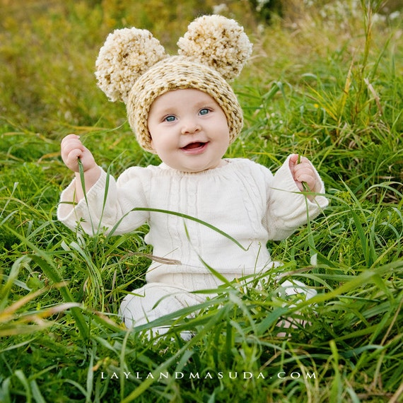 Dream of Cream EAR HAT - 6 to 12 months - Flat Top Hat Cream Tan Brown with Pom Poms - Photography Prop