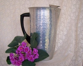 Vintage 50's Tall Hammered Aluminum Pitcher w Black Handle