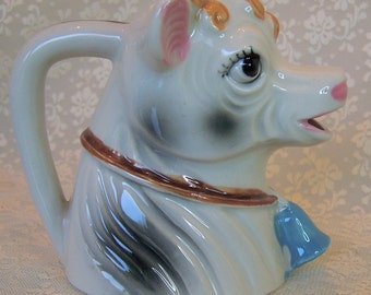 Vintage 50s Creamer Fancy Hand painted Cow Pottery Creamer Pitcher