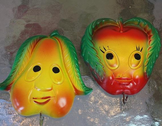 Vintage 50s  Chalkware Girly Apple w Boy Pear w Towel Hook Miller Studios