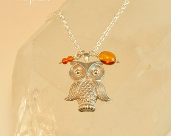 SALE - Silver Owl Necklace, Amber Necklace, Owl Necklace, Owl Jewelry, Woodland Jewelry, Animal Jewelry, Charm Necklace, Forest Animal, Gift