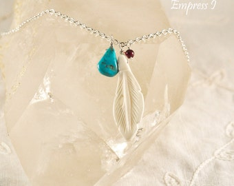SALE - Carved Bone Feather  Necklace With Turquoise and Garnet