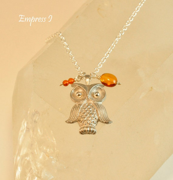SALE - Silver Owl and Amber Necklace