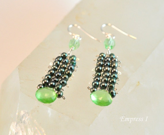 Green Glass and Freshwater Pearl Earrings