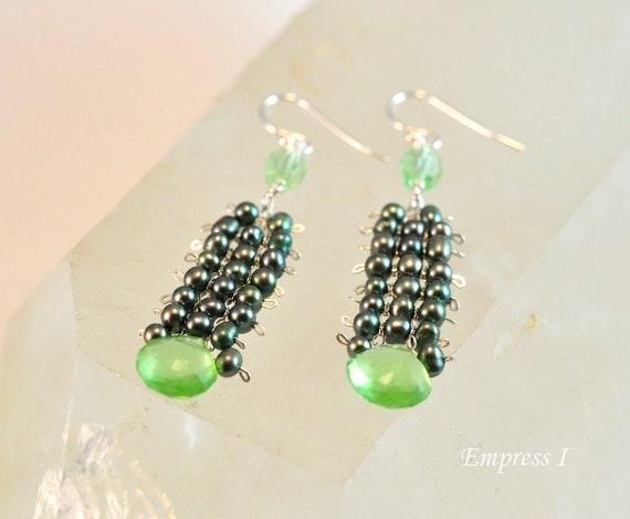 Green Glass and Freshwater Pearl Earrings, Green Earrings, Sterling Silver Jewelry, Jewelry For Women, Pearl Earrings, Handmade Jewelry