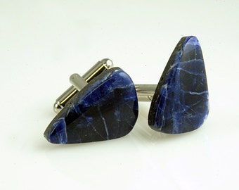 Sodalite Cufflinks Beautiful Matched Pair Deep Blue Awesome  F-31