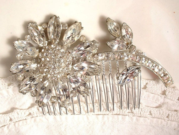 TRUE Vintage 1920s Art Deco Rhinestone Floral Bridal Hair Comb, Large Original Heirloom Marquise Crystal Brooch to OOAK Silver Comb Gatsby