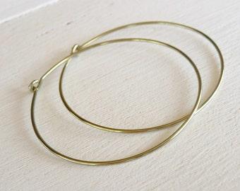 Extra Large Hoops, Yellow-gold Niobium Hoops, Nickel Free Hoops, Hypoallergenic Hoops For Sensitive Ears, Anodized Niobium Hoop Earrings