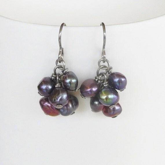 Peacock Pearl Cluster Niobium Earrings, Hypoallergenic Nickel Free Earrings For Sensitive Ears, Titanium Ear Wires Optional, June Birthstone