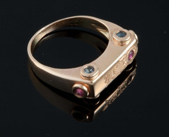 Vintage Ring Gets A New Look - Pinky 14K Gold Set With Sapphires and Ruby's Handmade from Israel