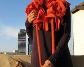 ON SALE Fleece funky boa scarf - adjustable, Orange color