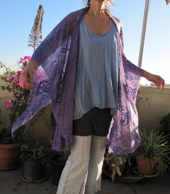 Multi purpose  long shawl - purple patterned burned out fabric