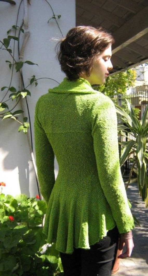 Lime Green Womens Cotton and Silk Jacket by KarensLoom on Etsy
