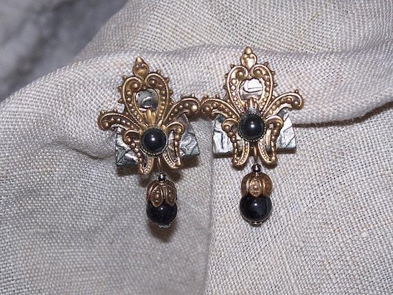 Vintage Victorian Style Earrings Hematite Dangles Clip On