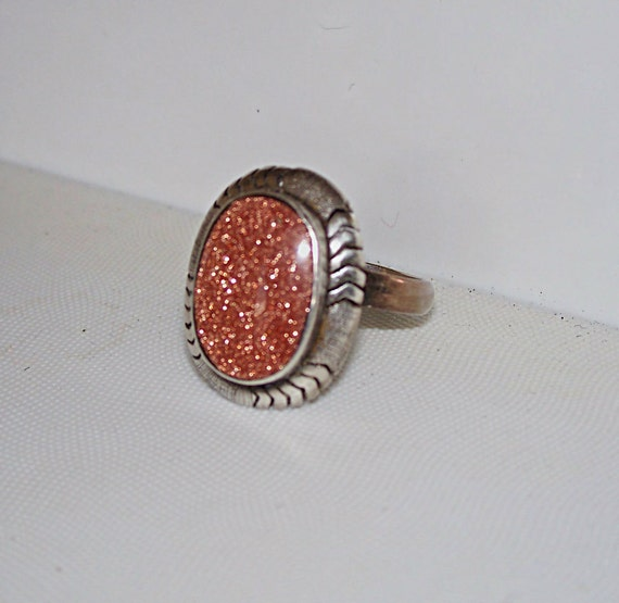 Vintage Goldstone Ring Sterling Silver Taxco Mexico Southwestern