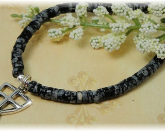 Boys First Communion Necklace Sterling Silver Cross Chalice Snowflake Obsidian
