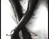 Aria Sanguine Wet Look Extra Long Arm Warmers - Black - Fetish Gothic Vampire Cyber Lolita Bondage Dark Tribal Bellydance Opera Glam Goth