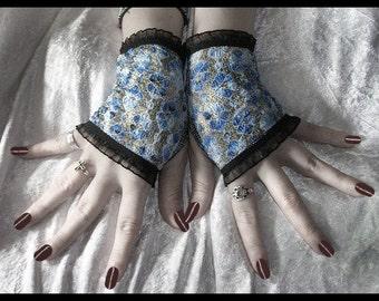 Cascade Lace Fingerless Gloves - Shimmery Blue Silver Grey Floral w/ Black - Gothic Noir Steampunk Lolita Vampire Victorian Bohemian