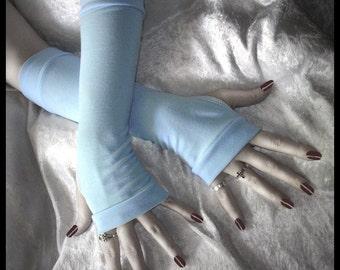 Dream Gone By Arm Warmers - Icy Robin's Egg Blue Soft Cotton - Gothic Yoga Bohemian Boho Earth Gypsy Ice Running Cycling Romantic Light Goth